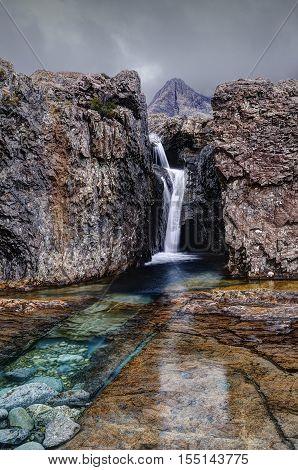 Early morning in Fairy Pools Glen Brittle Isle of Skye Inner Hebrides Highlands Scotland