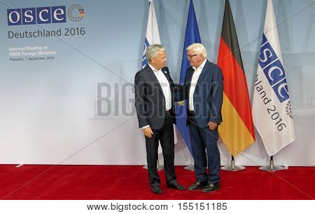 POTSDAM GERMANY. SEPTEMBER 1ST 2016: Federal Foreign Minister Dr Frank-Walter Steinmeier welcomes Didier Reynders Minister of Foreign Affairs and European Affairs of Kingdom of Belgium to the Informal OSCE Foreign Minister's Meeting held in Potsdam German