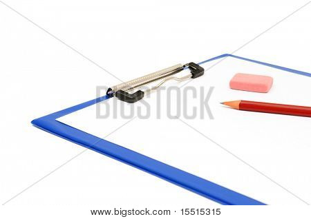clipboard and pencil isolated on a white background