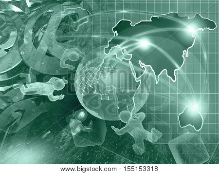 Computer background in greens with globe mans and map.