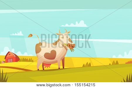 Cow and calf ranch farmland funny cartoon poster with farm house on background and grazing cattle vector illustration