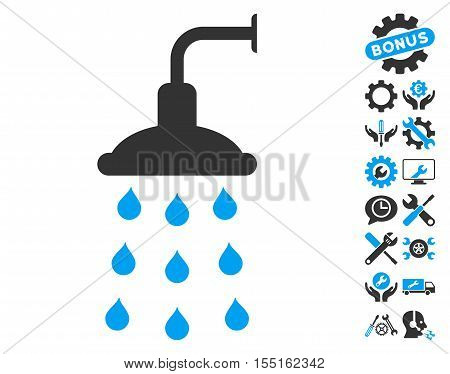 Shower pictograph with bonus configuration pictograph collection. Vector illustration style is flat iconic blue and gray symbols on white background.