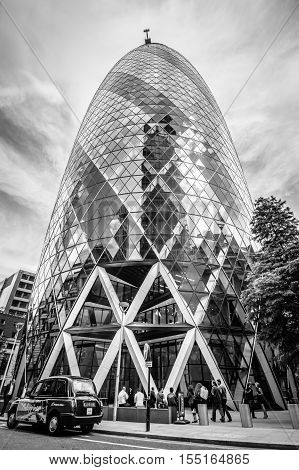 LONDON UK - AUGUST 21 2015: Gherkin Tower designer by the architect Norman Foster. It´s the headquarters of an insurance company