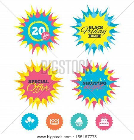 Shopping night, black friday stickers. Birthday crown party icons. Cake and cupcake signs. Air balloons with rope symbol. Special offer. Vector