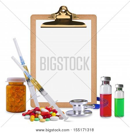 Composition of empty clipboard and medical supplies