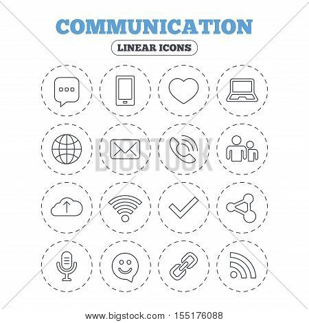 Communication icons. Smartphone, laptop and speech bubble symbols. Wi-fi and Rss. Online love dating, mail and globe thin outline signs. Round flat buttons with linear icons. Vector