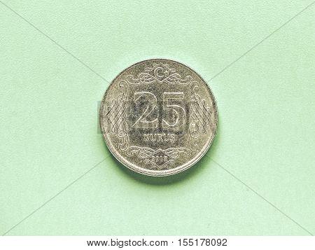 Vintage Turkish Coin On Green Background