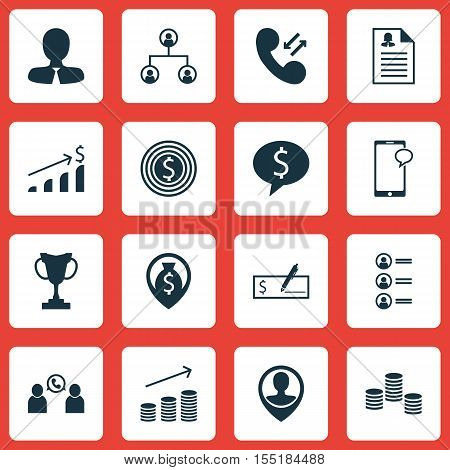 Set Of Management Icons On Female Application, Phone Conference And Employee Location Topics. Editab