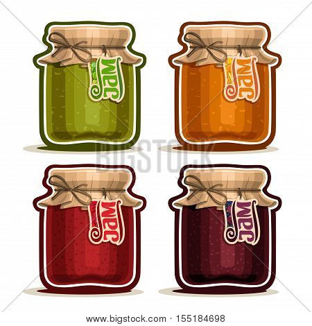 Vector logo Fruit Jam in glass Jar with paper cover lid tied twine bow, rustic pot home made raspberry jams, set homemade fruit jam jars, farm apricot dessert in pots with tag label, isolated on white