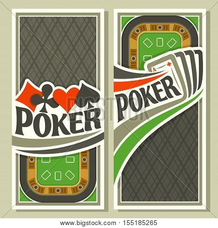 Vector logo of holdem Poker: four playing card ace diamonds for gambling game on green felt table in casino club, vertical banner for pokers gamble games, card suits: spades, hearts, diamonds, clubs.