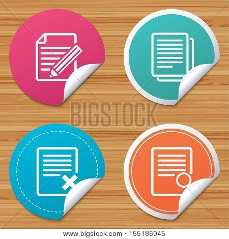 Round stickers or website banners. File document icons. Search or find symbol. Edit content with pencil sign. Remove or delete file. Circle badges with bended corner. Vector