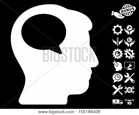 Person Thinking icon with bonus service pictograms. Vector illustration style is flat iconic symbols on white background.
