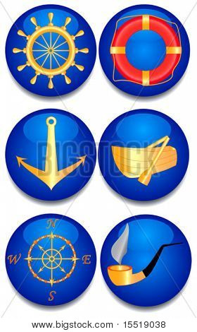 Six sea signs. A vector illustration