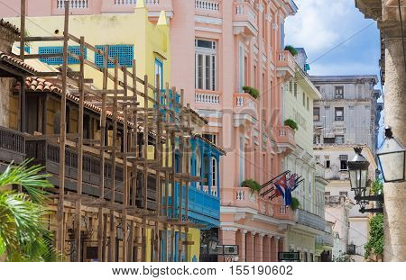 Beautiful view of the old town in havana vieja in Havana Cuba