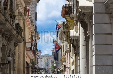 Beautiful view of the old town and the facade in havana vieja in Havana Cuba