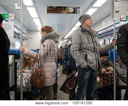 MOSCOW - NOVEMBER 1: Passengers standing and sitting at