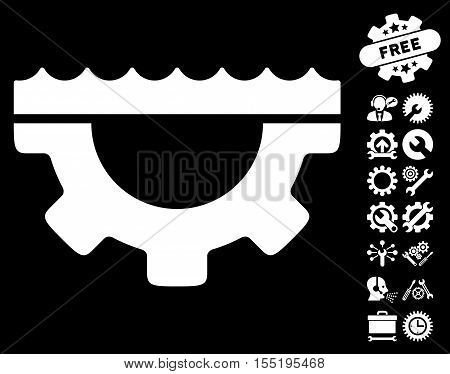 Water Service Gear icon with bonus service images. Vector illustration style is flat iconic white symbols on black background.