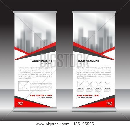Red roll up business brochure flyer banner design vertical template vector, x-stand, flag-banner, advertisement template