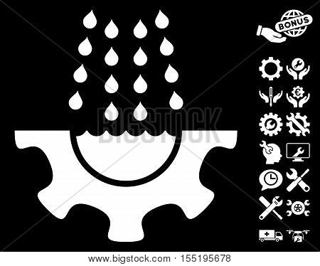 Water Shower Service Gear pictograph with bonus tools icon set. Vector illustration style is flat iconic white symbols on black background.