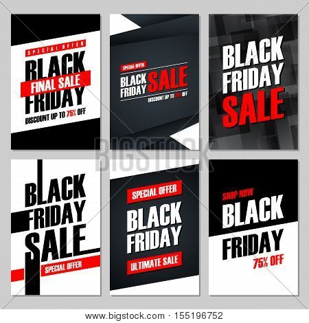 Set of Black Friday Sale banners. Special offer, discount up to 75 percent off, shop now, ultimate sale. Banners for business, promotion and advertising. Vector illustration.