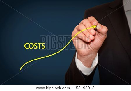 Increase Costs business concept. Businessman draw simple graph with ascending curve