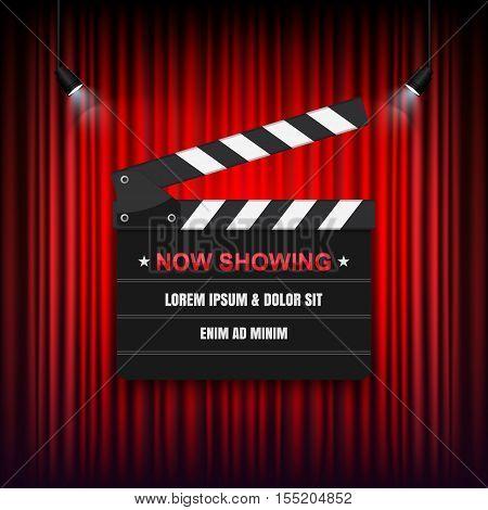 Theater cinema Sign, Slate on curtain. Vector illustration