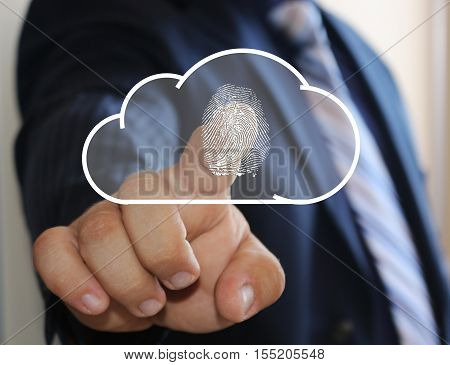 The businessman clicks cloud storage security icon on the touch screen. Security, protection of cloud data storage business. Businessman touching . Internet, network.