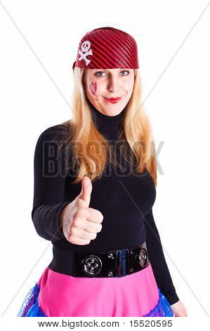 A Girl Dressed As A Pirate With A Thumb Up