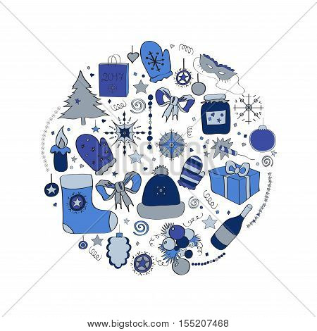 Illustration, vector set, Christmas symbols, the individual elements for holiday cards, posters, invitations. blue and gray, cold gamma cool colors.