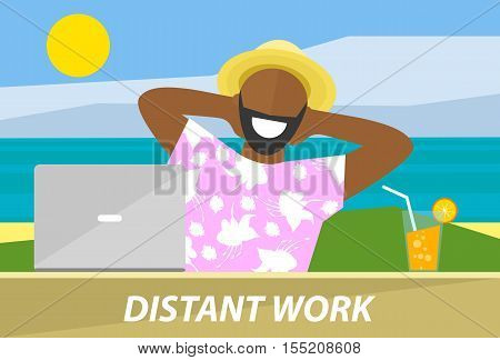 Happy black man working remotely on a laptop. Distant work freelance business freedom concept. Flat design vector illustration