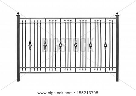 Decorative railing banisters in old style. Isolated over white background.