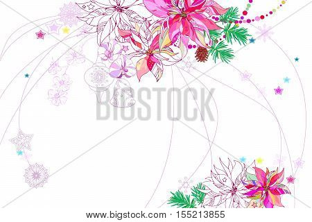 Christmassy White Background with Poinsettia,Orchids,Stars and Snowflakes