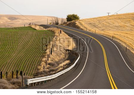 Two Lane blacktop road leads through scenic Oregon State