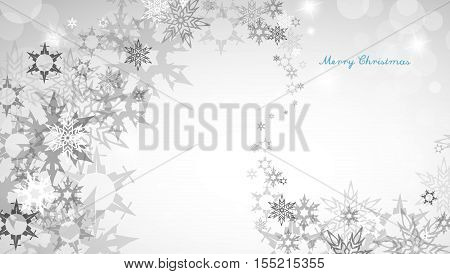 Christmas silver background with snowflakes and decent blue Merry Christmas text - horizontal version