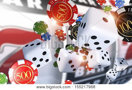 Casino Gambling Illustration 3D Render. Casino Chips Dices and Slot Machine in the Background.
