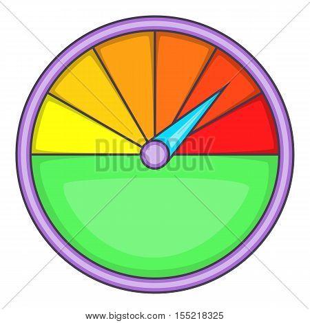 Colorful speedometer icon. Cartoon illustration of speedometer vector icon for web design
