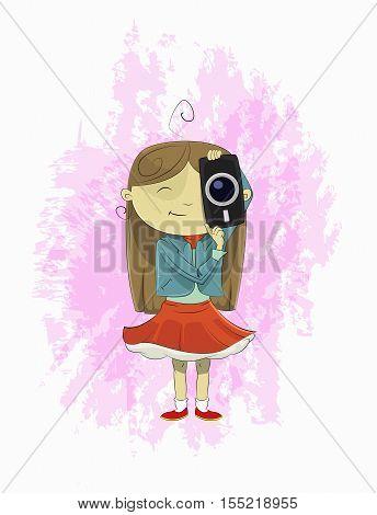 Cute cartoon girl holding camera. Girl photographer making photo. Vector