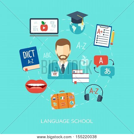 Foreign language courses and schools concept. Flat design. Vector illustration