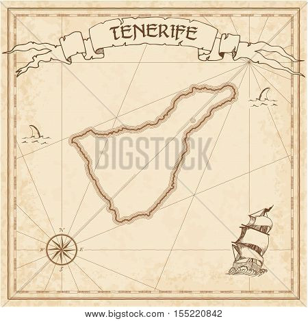Tenerife Old Treasure Map. Sepia Engraved Template Of Pirate Island Parchment. Stylized Manuscript O