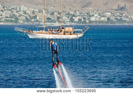 Fly Board Watershow At The Bay Of Eilat