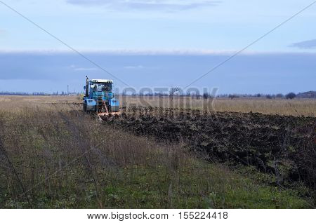 tractor working in the field and prepare the ground for sowing