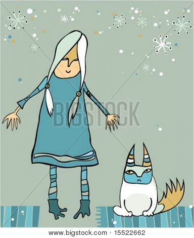 girl with disaffected cat - winter illustration