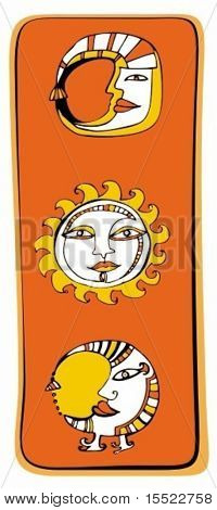 Sun, moon astrology design elements. Vector set. To see more astrology icons, please visit my gallery
