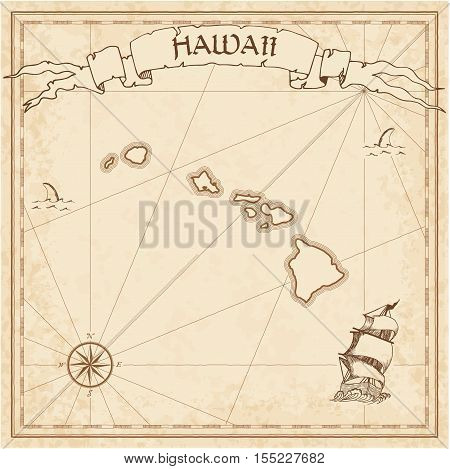 Hawaii Old Treasure Map. Sepia Engraved Template Of Pirate Island Parchment. Stylized Manuscript On