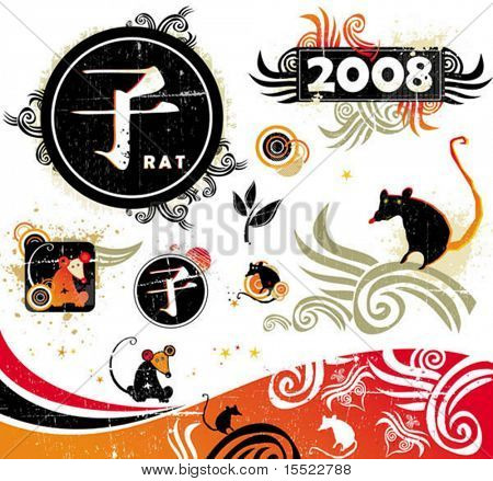 2008 - year of rat. Vector set of asian design elements. To see similar stuff,  please visit my gallery