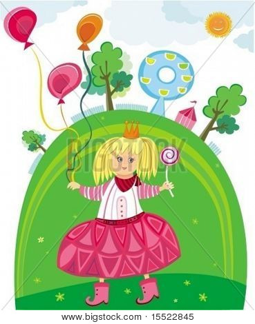 little cute girl holding balloons having fun in the park. To see more kids illustrations, please visit my gallery
