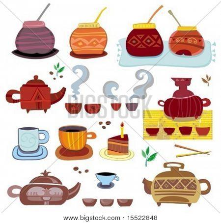 té, café, yerba mate - colorida conjunto de elementos de diseño. Para ver los conjuntos similares, por favor visite mi gal