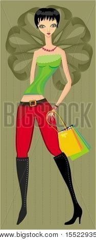 Stylish sexy young woman with shopping bags. To see similar illustrations,  please VISIT MY GALLERY.