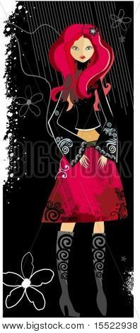 Beautiful Stylish young woman, with red hair. To see similar illustrations,  please VISIT MY GALLERY.