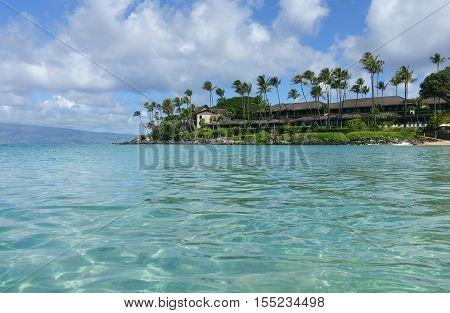 Clear water of Napili beach, on the island of maui, Hawaii